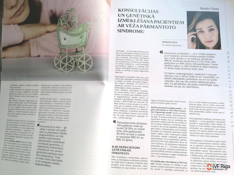 Konsultācijas un ģenētiskā izmeklēšana pacientiem ar vēža pārmantoto sindromu